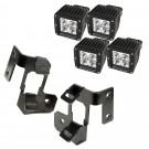 A-Pillar Light Mount Kit, Semi-Gloss Black, Square LED, 07-15 Wrangler