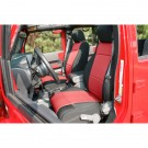 Neoprene Front Seat Covers, Black and Red, 11-15 Jeep Wrangler