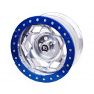 "17"" Aluminum Beadloclk Wheel, (6 on 5.5"" w 3.75"" BS), Blue Segmented Ring"