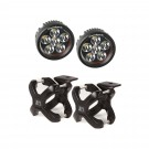 Small X-Clamp & Round LED Light Kit, Black, 2-Pieces