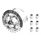 "17"" Aluminum Beadloclk Wheel, (6 on 5.5"" w 3.75"" BS), Polished Segmented Ring (with lug nuts)"