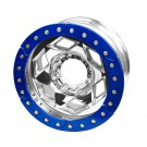 "17"" Aluminum Beadlock Wheel, (8 on 170mm w/ 5.00"" BS), Blue Segmented Ring"