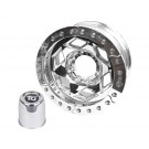 "17"" Aluminum Beadlock Wheel, (8 on 170mm w/ 4.25"" BS), Clear Satin Segmented Ring"