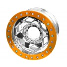 "17"" Aluminum Beadlock Wheel, (8 on 170mm w/ 5.00"" BS), Orange Segmented Ring"
