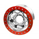 "17"" Aluminum Beadlock Wheel, (8 on 170mm w/ 5.00"" BS), Red Segmented Ring"